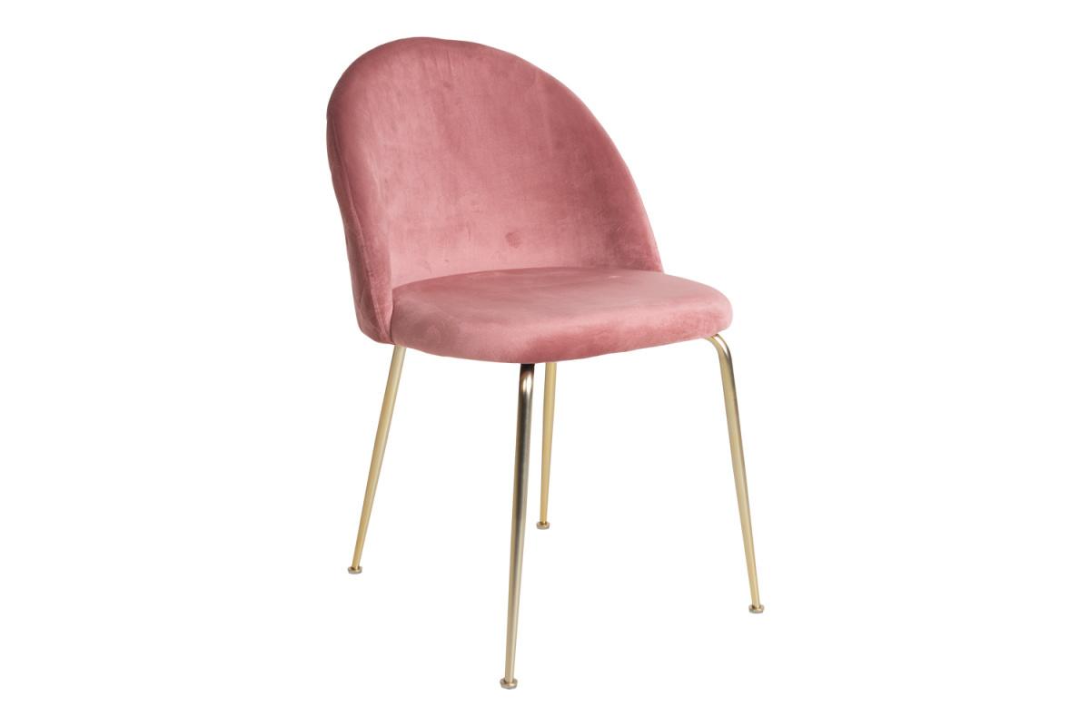 Designová židle Ernesto, růžová / mosaz