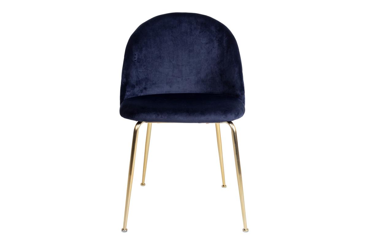 Designová židle Ernesto, modrá / mosaz