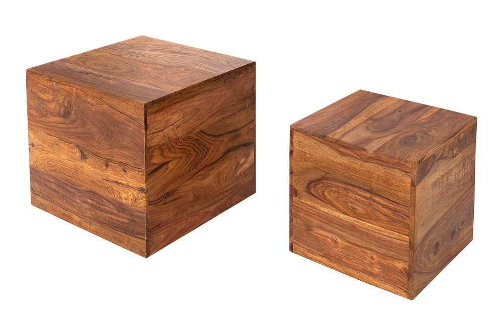 Dizajnové stolky Timber kostky z masívního dřeva