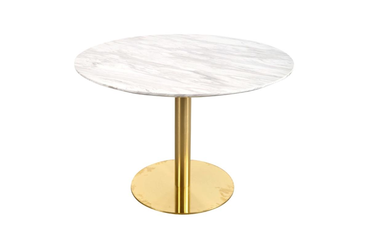Kulatý jídelní stůl Kane 110 cm mramor imitace / mosaz