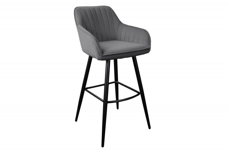 Designová barová židle Esmeralda šedý samet