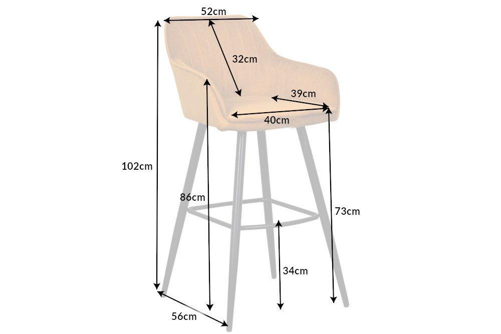 Designová barová židle Esmeralda hořčičný samet