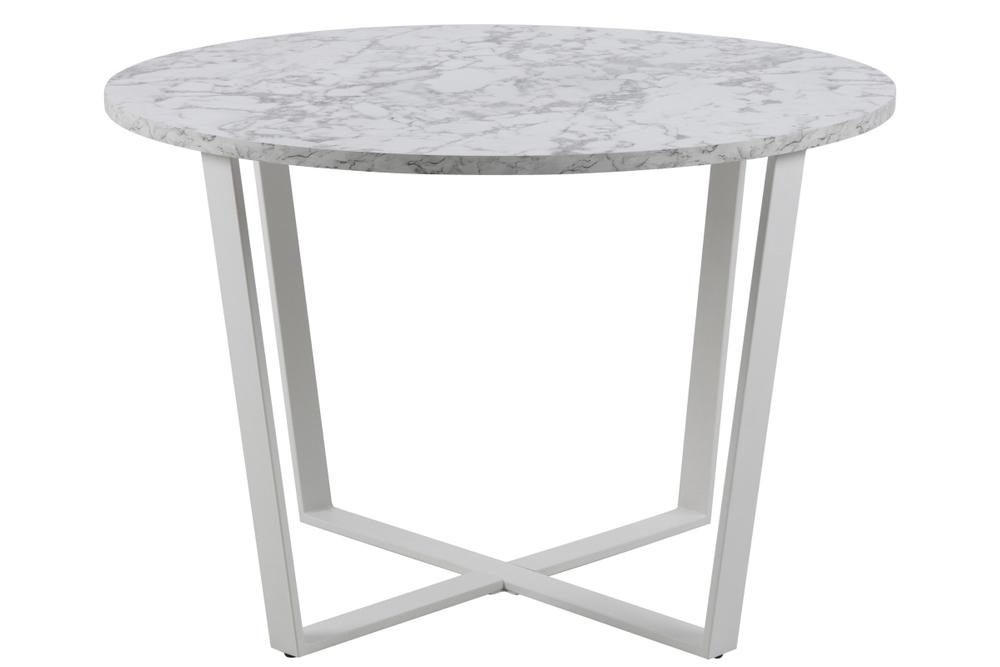 Kulatý jídelní stůl Nayo mramorová potisk, bílá