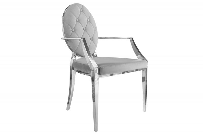 Designová židle Rococo II šedá s opěrkami