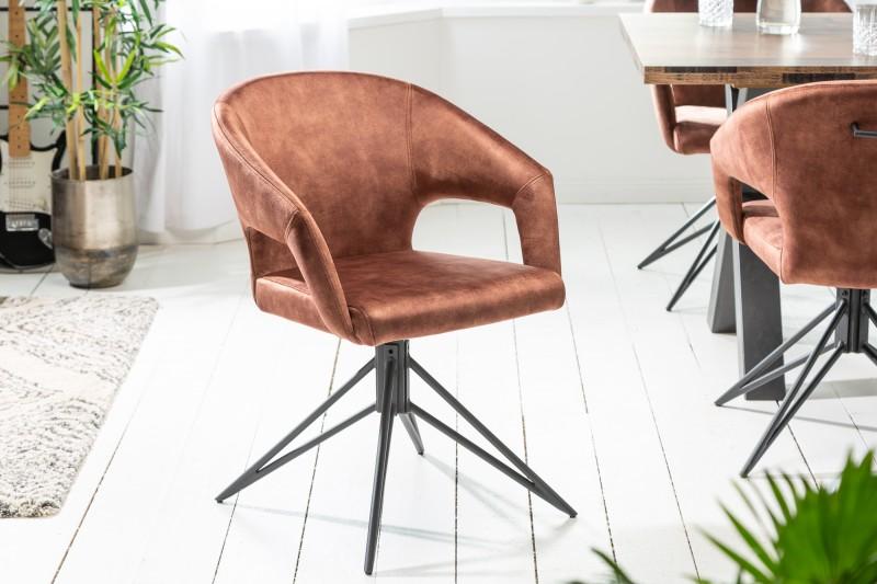 Designová otočná židle Age hnědý samet