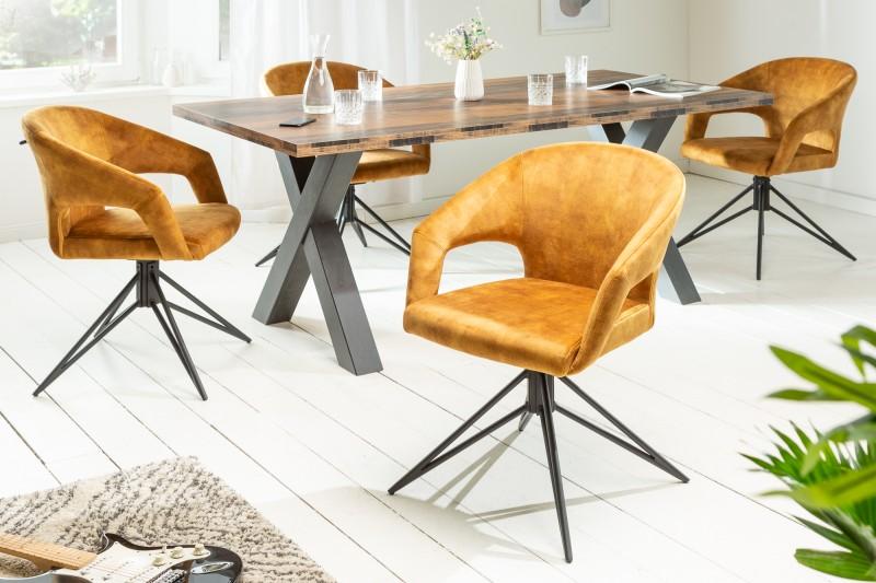 Designová otočná židle Age hořčicově žlutý samet