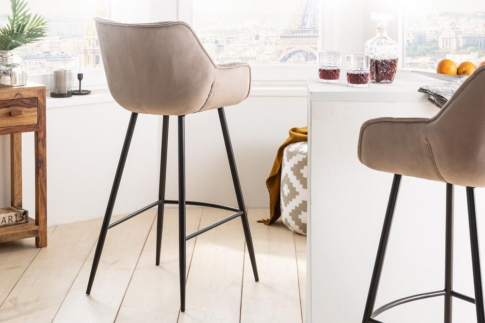 Designová barová židle Kiara šampaňský samet