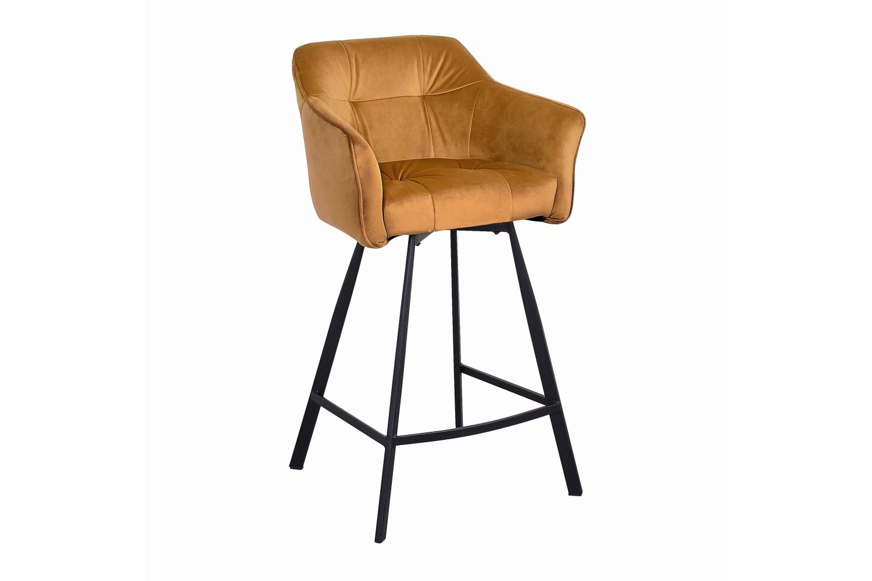 Designová barová židle s područkami Giuliana 100 cm hořčičný samet
