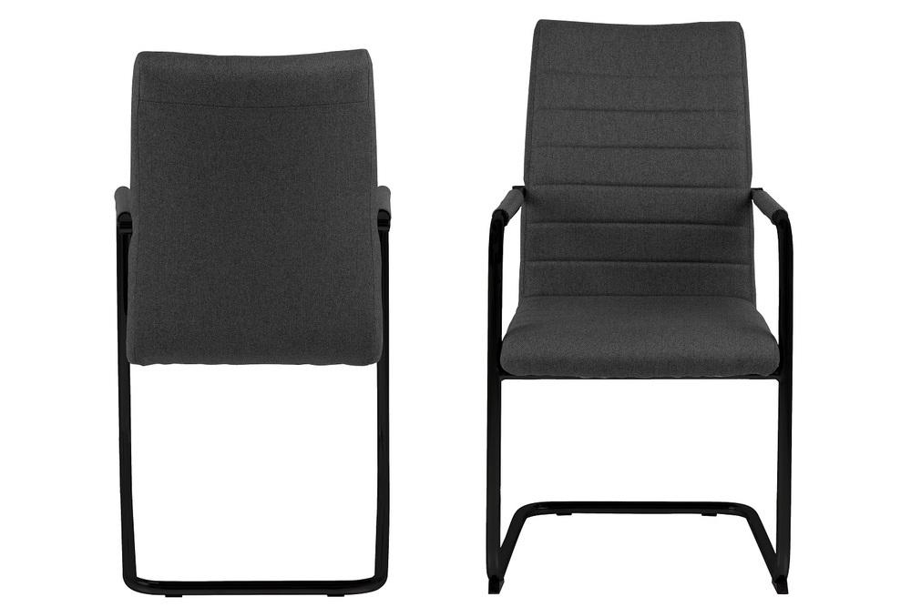 Designová jídelní židle Daitaro s opěrkami tmavě šedá / černá