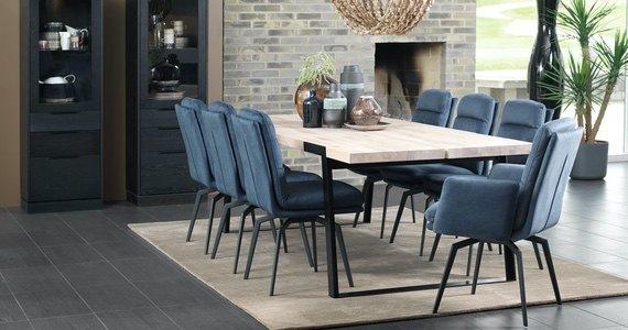 Designová jídelní židle Roll modrá s opěrkami