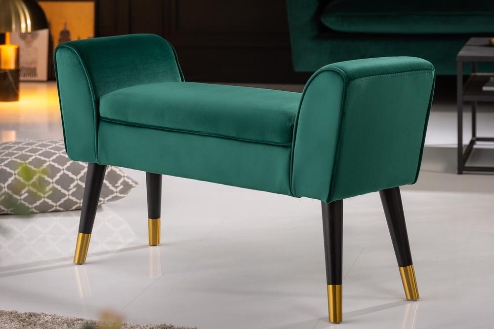 Designová lavice Dafina 90 cm samet smaragdová zelená