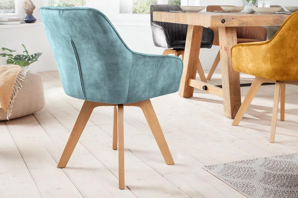 Designová otočná židle Gaura petrolejový samet