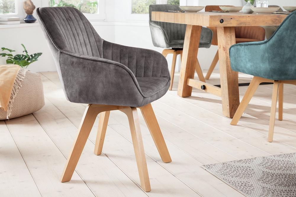 Designová otočná židle Gaura šedý samet