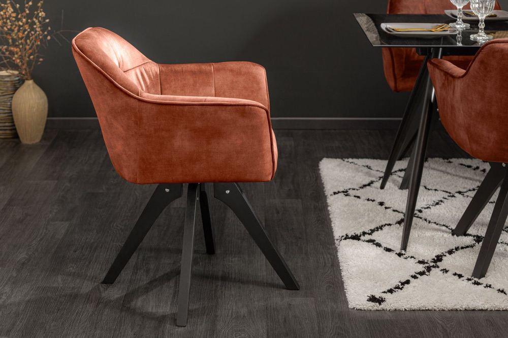Designová otočná židle Giuliana měděný samet