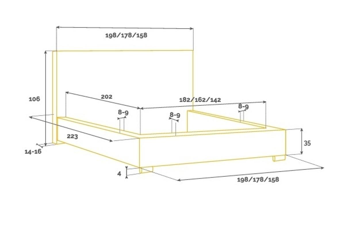 Designová postel Demeterius 160 x 200 - 6 barevných provedení