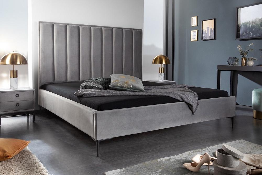 Designová postel Gallia 180 x 200 cm stříbrno-šedá