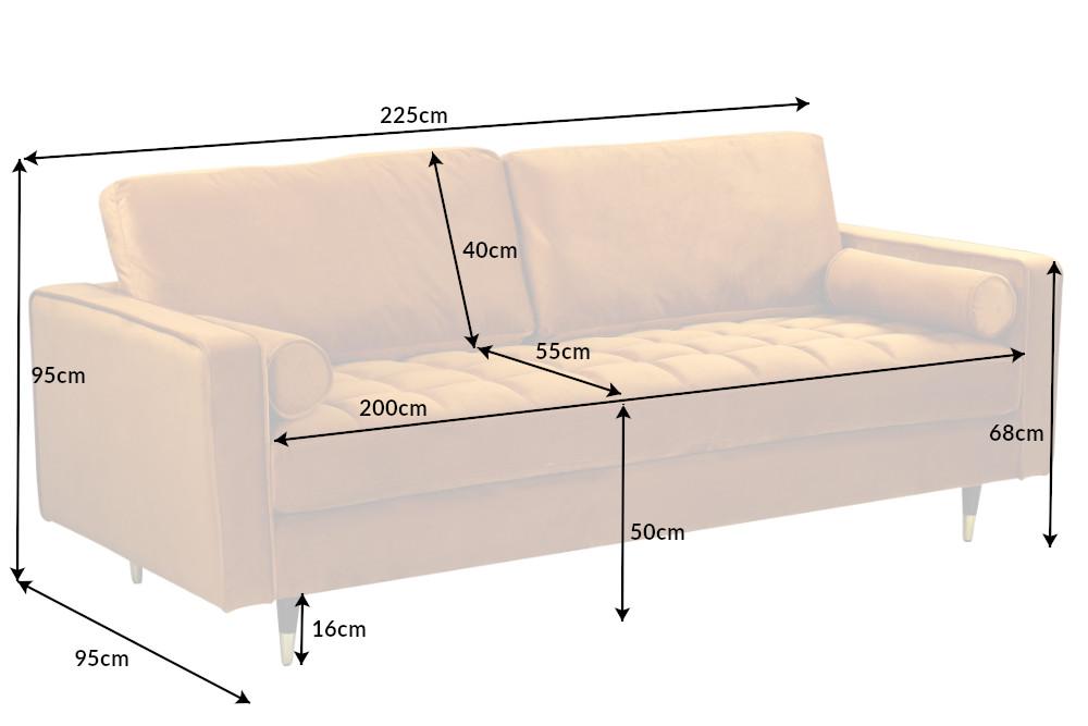Designová sedačka Adan 225 cm hořčicově-žlutý samet