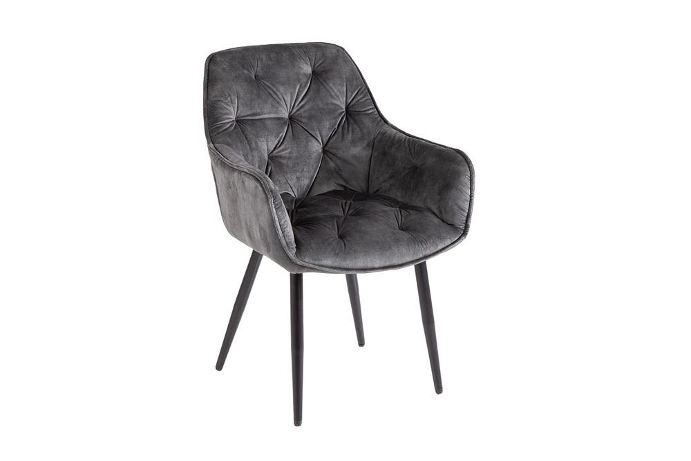 Designová stolička Garold šedo-zelený samet