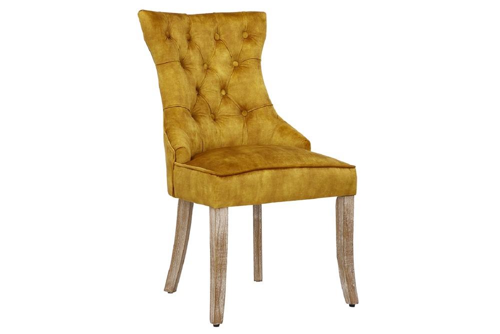 Designová stolička Queen samet hořčicová žlutá