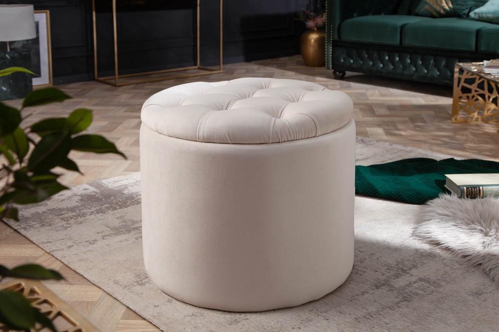 Designová taburetka Rococo 50 cm béžová