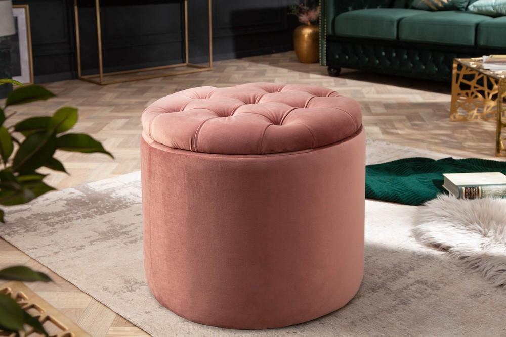 Designová taburetka Rococo 50 cm starorůžová
