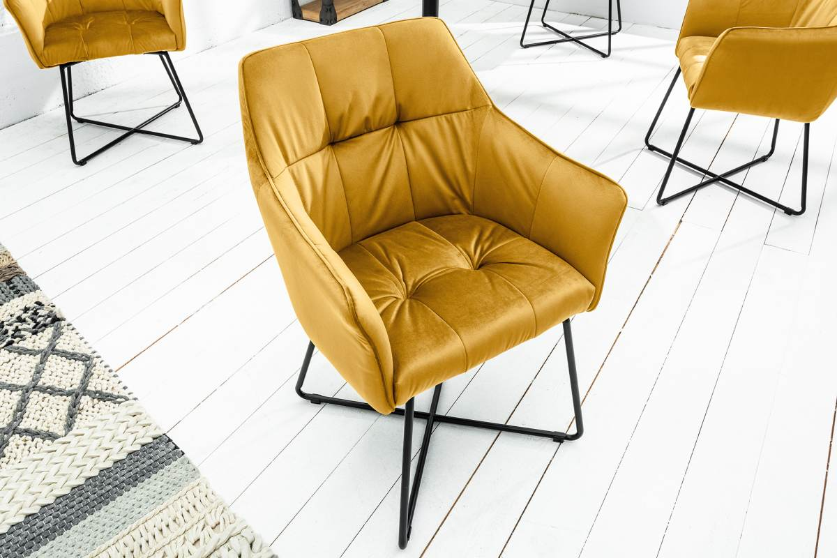 Designová židle Giuliana hořčicová
