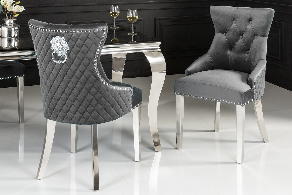 Designová židle Queen Lví hlava samet šedá