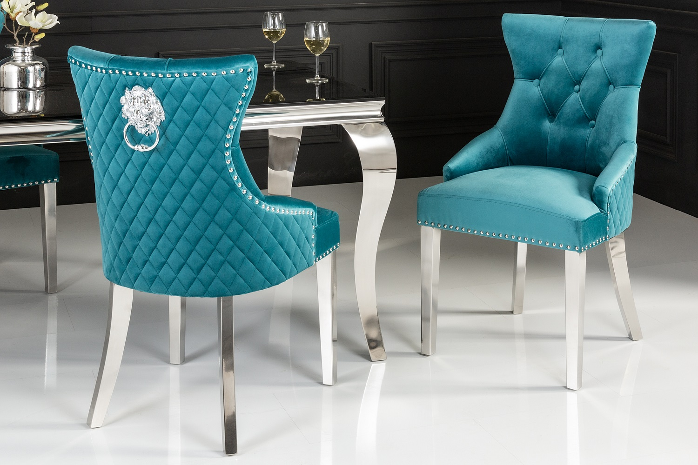 Designová židle Queen Lví hlava samet tyrkysová
