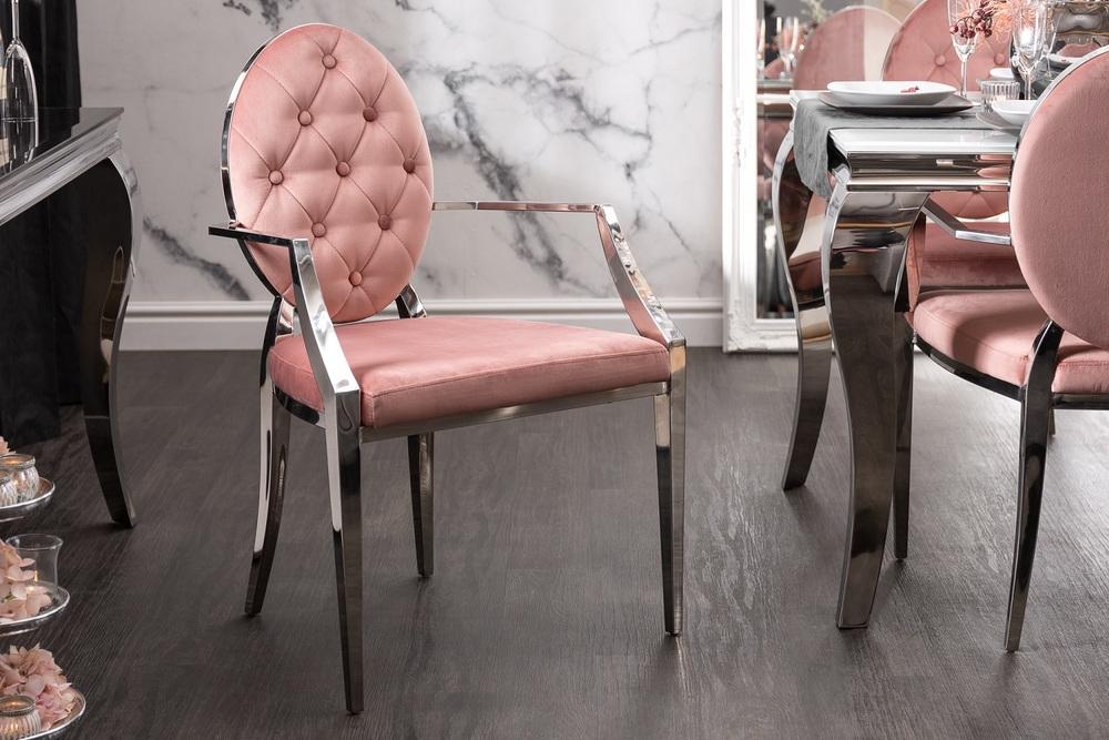Designová židle s opěrkami Rococo II růžová