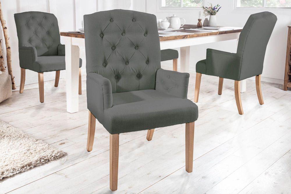 Designová židle s područkami Queen světlešedá