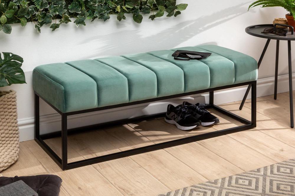 Designová lavice Halle 108 cm samet - mentolová zelená