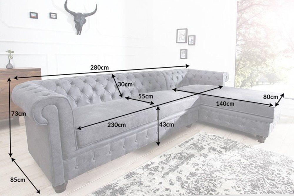 Designová rohová sedačka Chesterfield II 280 cm šedá - pravá