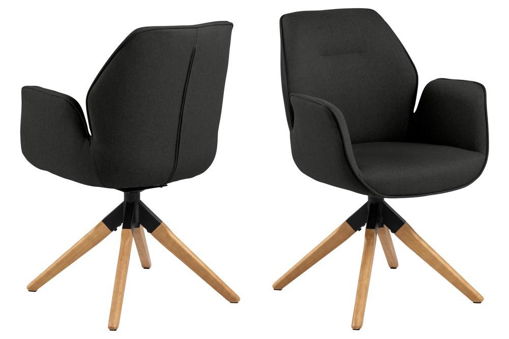 Designová židle Ariella tmavě šedá - přírodní