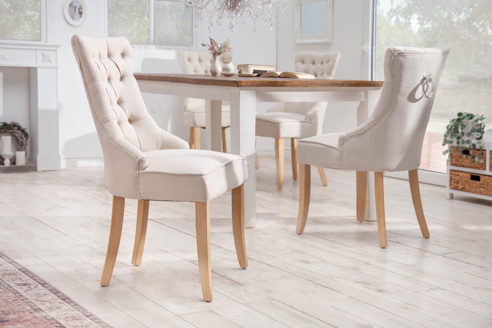 Designová židle Queen len béžová