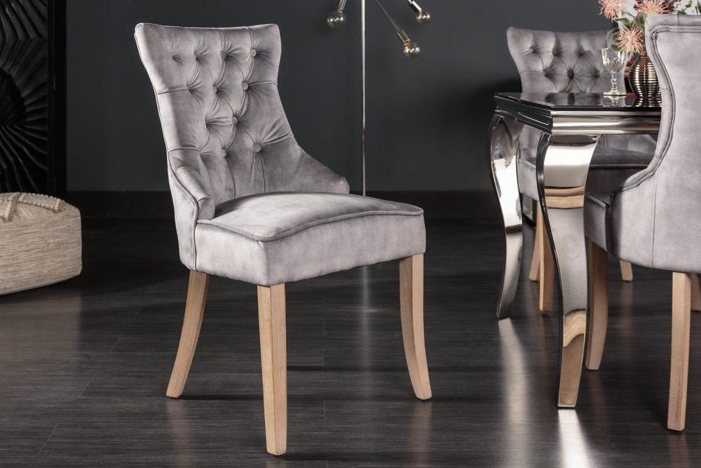 Designová židle Queen samet šedá