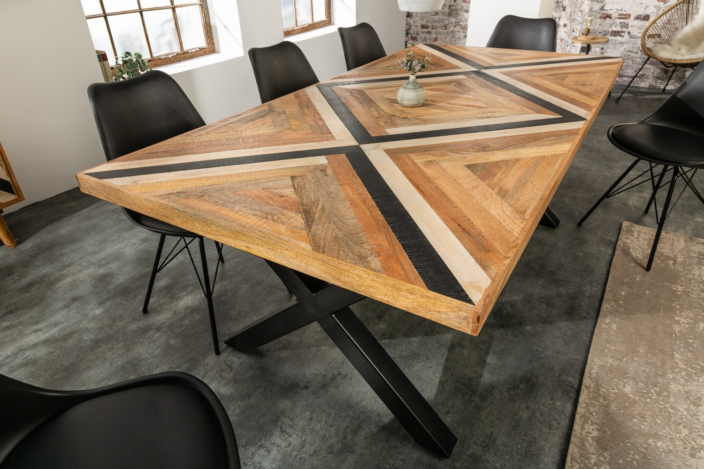Designový jídelní stůl Rodney 200 cm černý / mango