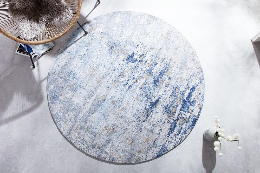 Designový kulatý koberec Rowan 150 cm béžovo-modrý