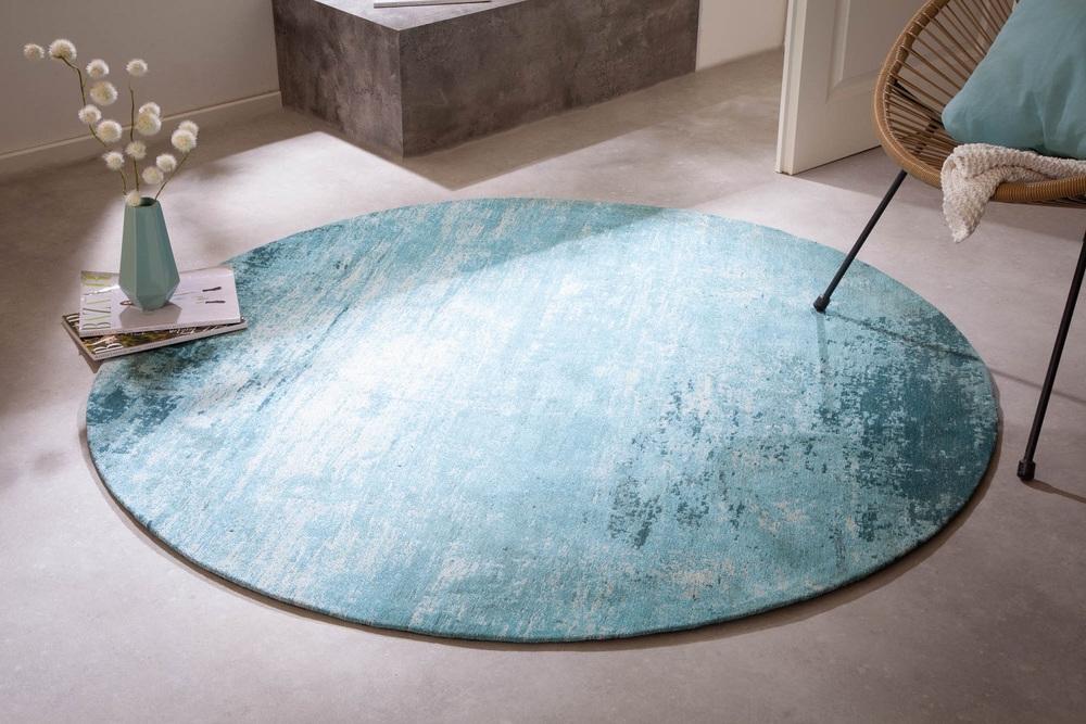 Designový kulatý koberec Rowan 150 cm tyrkysově-béžový
