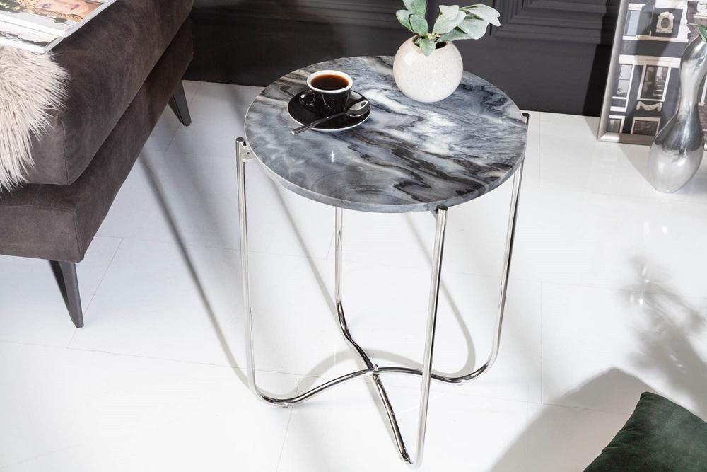 Designový odkládací stolek Tristen III 43 cm mramor šedý