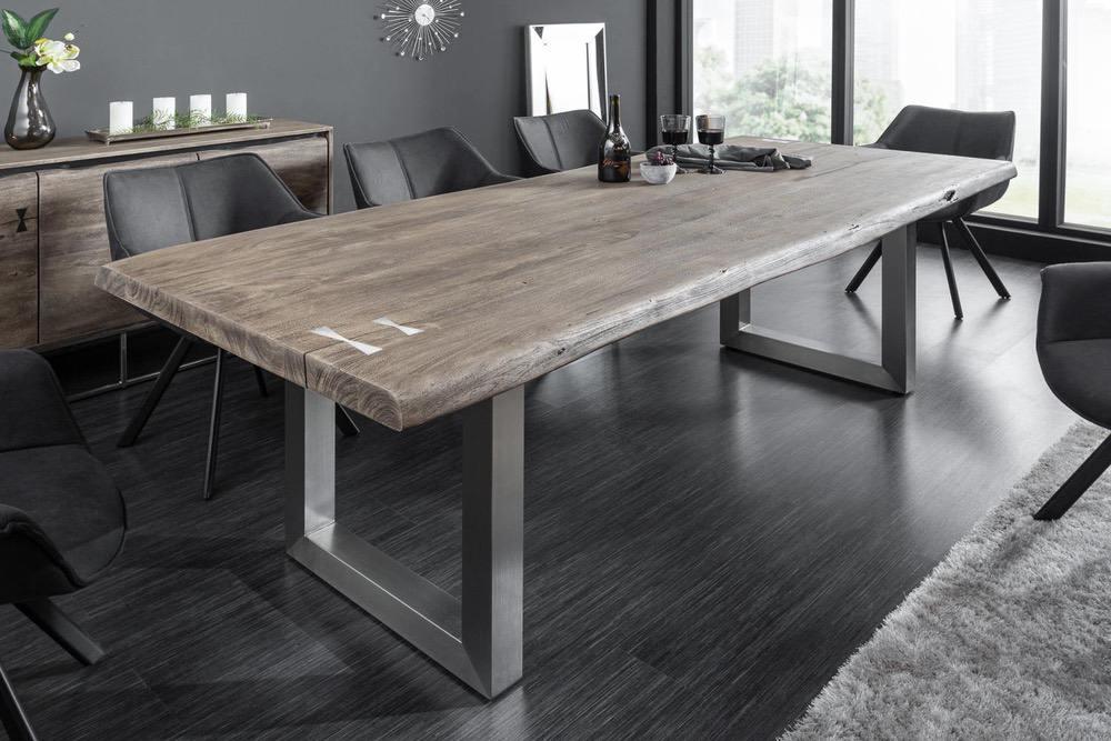 Designový jídelní stůl Massive Artwork 240 cm šedá akácie
