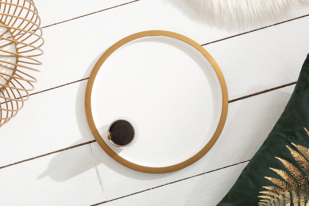 Designový konferenční stolek Elliana II 41cm bílý-zlatý
