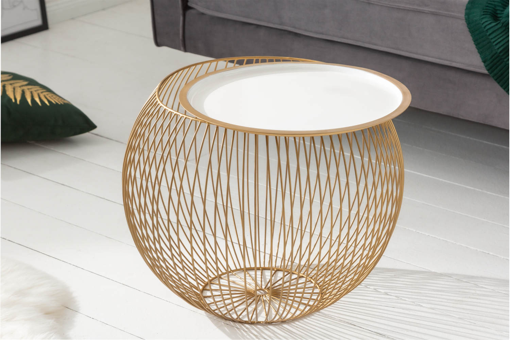 Designový konferenční stolek Elliana II 51cm bílý-zlatý