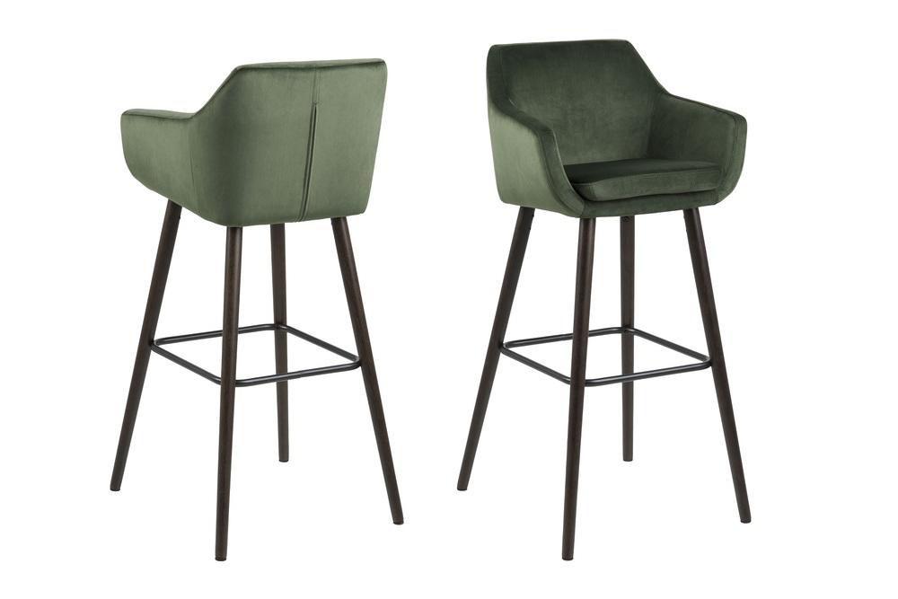 Designová barová židle Almond lesnická zelená - otevřené balení