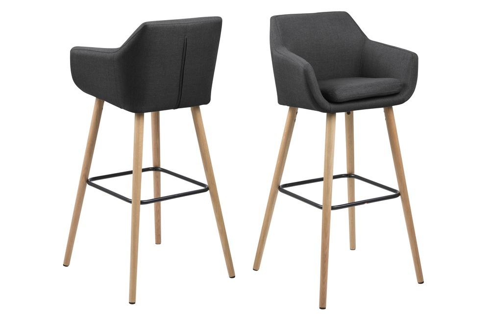 Designová barová židle Almond tmavě šedá / přírodní