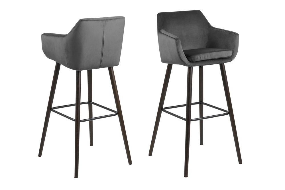 Designová barová židle Almond tmavě šedá / tmavohnědá
