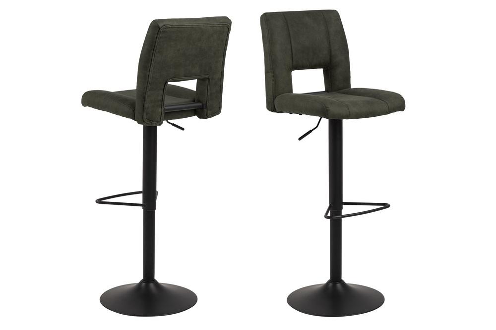 Designová barová židle Almonzo olivově zelená