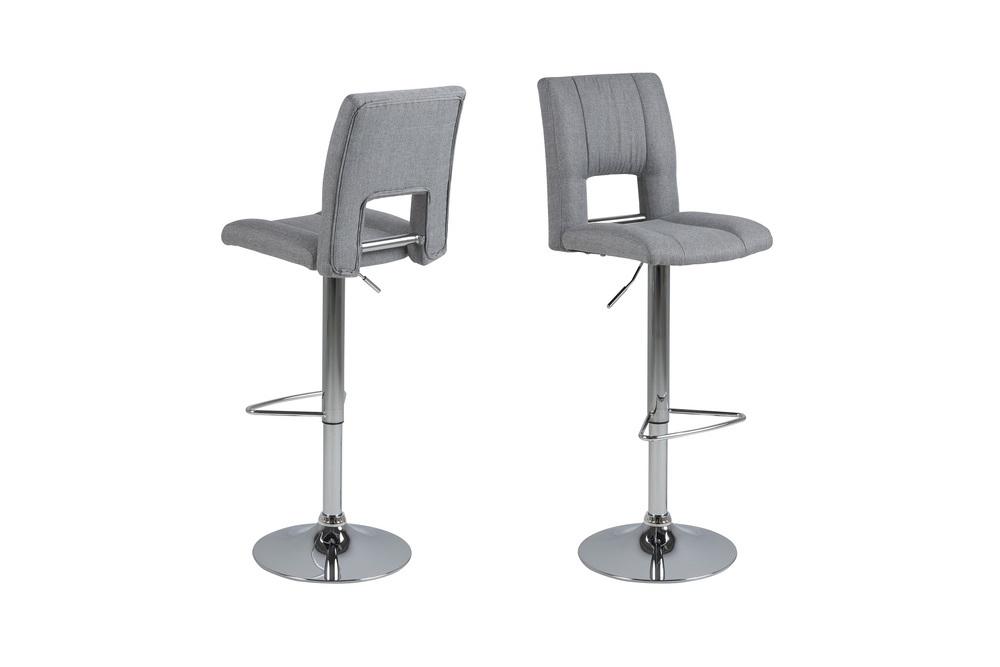 Designová barová židle Almonzo světlešedá / chromová
