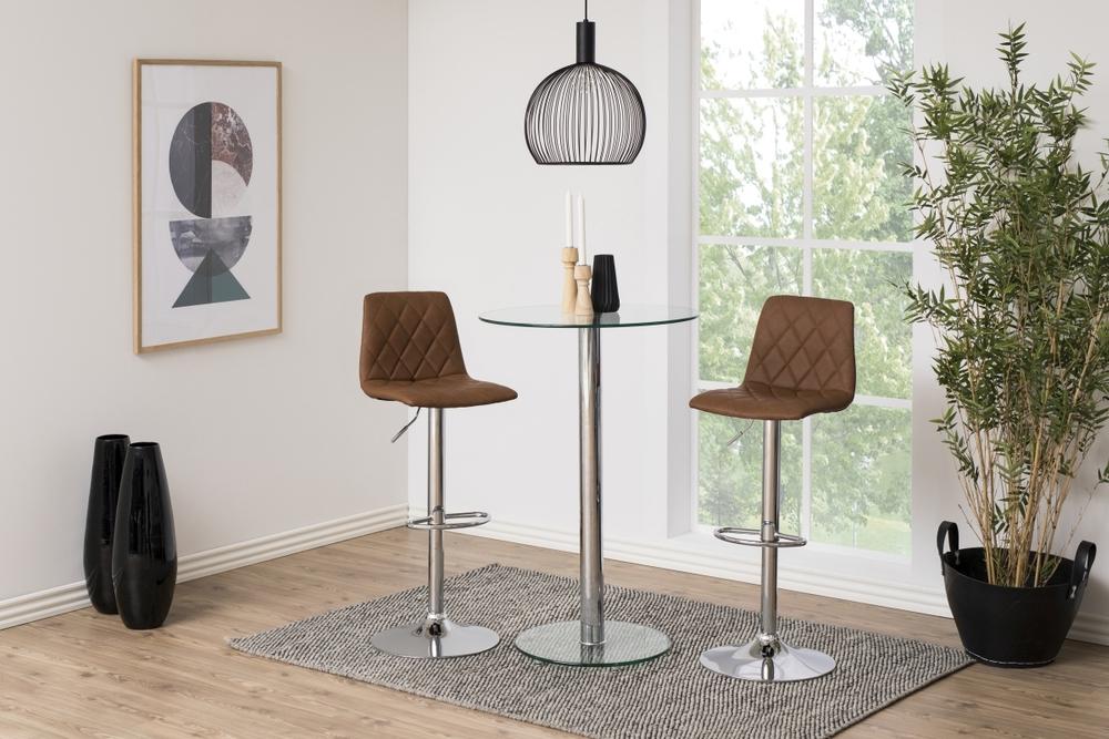 Designová barová židle Nashota světle hnědá-chromová