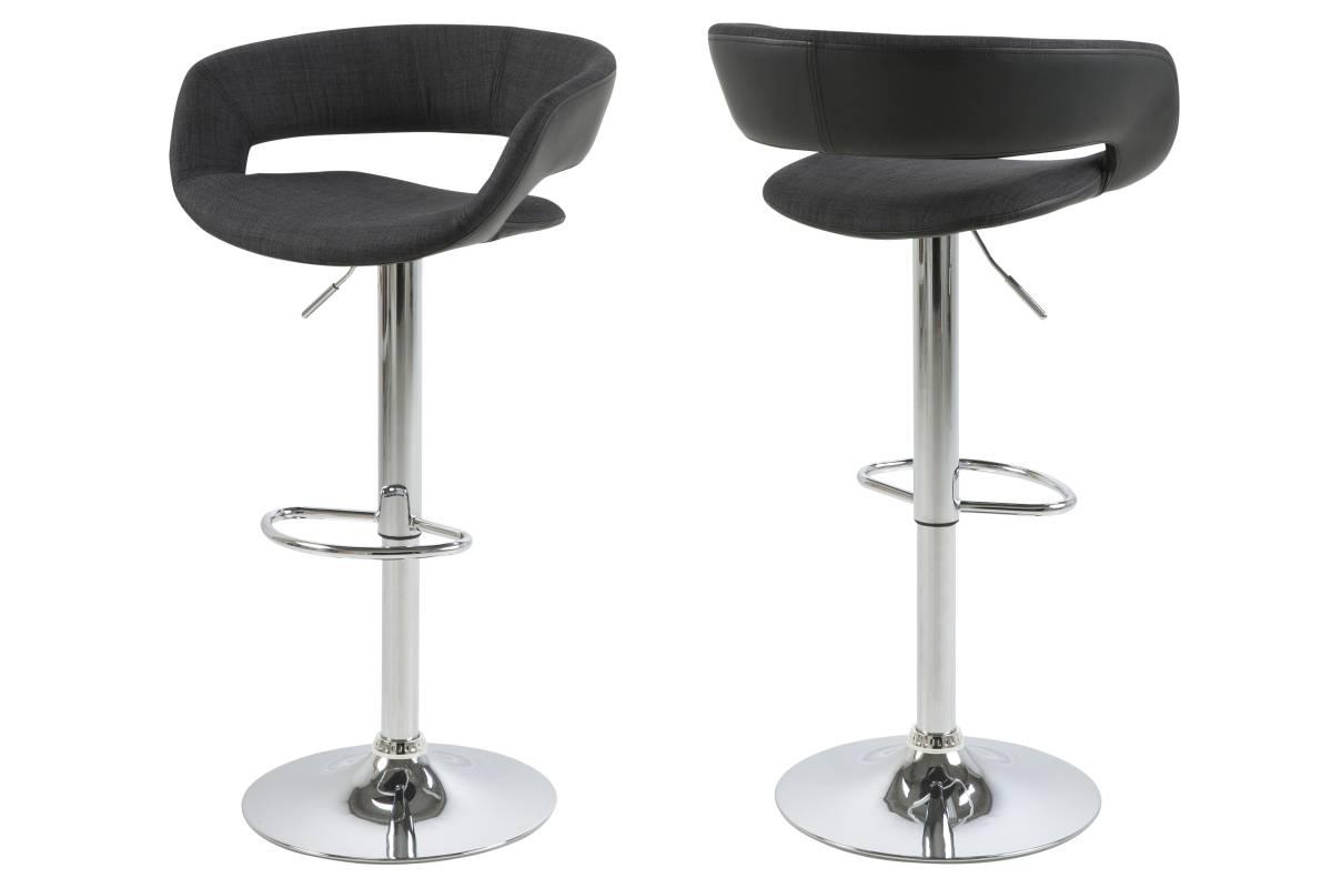 Designová barová židle Natania antracitová černá a chromová