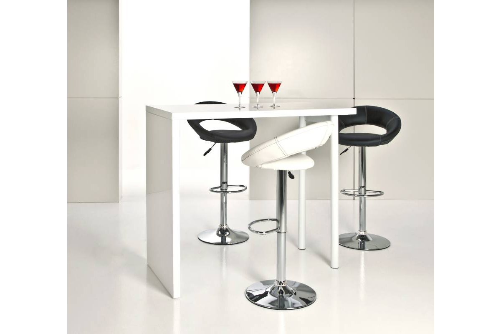Designová barová židle Navi bílá a chromová